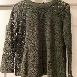 Banana Republic Green Lace Blouse size Medium